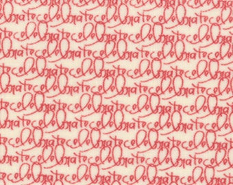 Celebrate Text Fabric - Celebrate from Wishes by Sweetwater for Moda Fabrics 5533 14 Vanilla Red - Priced by the 1/2 yard