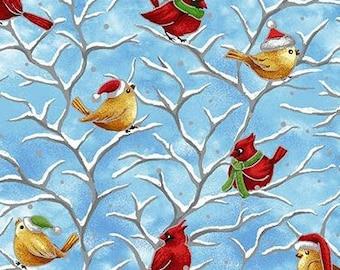 Christmas Birds- Seasons Greetings - Paintbrush Studio 13018 00301 Blue - Priced by the half yard
