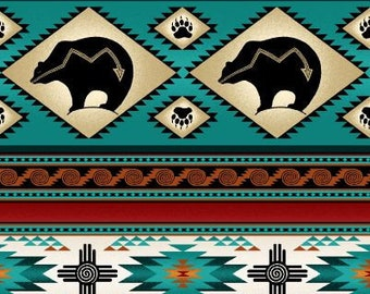 Tucson Stripe, Bear Stripe, Dream Catcher, Southwest Fabric by Elizabeth Studio 516 Turquoise - Priced by the 1/2 yard