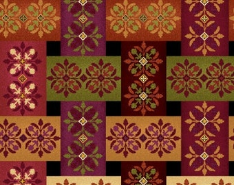 Plaid Fabric - Fall Medallion Fabric - Fall Festival by jennifer Brinley - Studio E - 4264 91 Black - Priced by the 1/2 yard