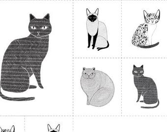 Catnip Cat Fabric, Black & White Cats, Gingiber for Moda, 48231 11 Cat Blocks - priced by the Panel