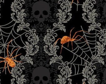 Spooky Night - Damask Stripe with Spider - Grace Popp for Studio E - 5718-99 Black - Priced by the 1/2 yard