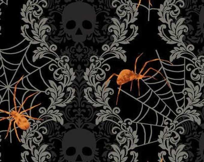 Featured listing image: Spooky Night - Damask Stripe with Spider - Grace Popp for Studio E - 5718-99 Black - Priced by the 1/2 yard