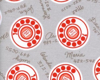 Cotton and Steel - Phone fabric, Rotary Dial - Rotary Club by Cotton and Steel - priced by the half yard - 3033 1 Gray