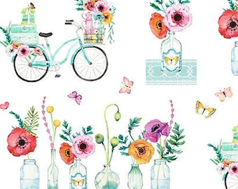 Northcott April Showers - Floral Bike Flower Vase - Heatherlee Chan for Northcott Studio - 22589 10  - end of bolt 35-Inches