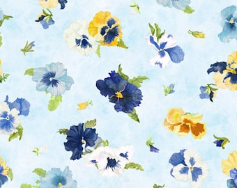 Pansy Fabric - Tossed Pansies - Walking on Sunshine by Joanne Porter for Wilmington Prints Fabric - 79269 454 Blue - Priced by the half yard