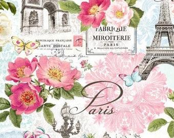 Michael Miller Fabric La Vie En Rose Paris in Bloom - CX9623-WHIT - Priced by the half yard