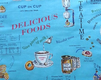 Delicious Food Fabric, Cafe Fabric, Teatime Fabric - Yuwa Fabric by Suzuko Koseki 446525 E Blue -   Priced by the 1/2 yard - Cotton/Linen
