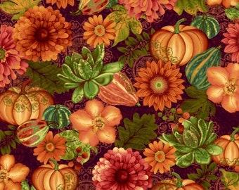 Gourd Fabric - Pumpkin - Fall Floral  Fall Fabric - Fall Festival by jennifer Brinley - Studio E - 4266 89 Eggplant - Priced by the 1/2 yard