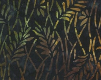 Brown Batik - Delicate Leaves - Overlapping branches - Wilmington Echoed Angles -  22232 428 Blue/Brown - Priced by the half yard