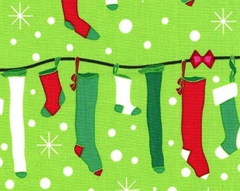 Christmas Fabric, Stocking Fabric, Stuff the Stockings, All the Trimmings Collection - Michael Miller CX 6628 Green -  end of bolt 30 inches