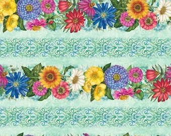 Floral Fabric - Blossom & Bloom - Blooming Flower Stripe - John Christopher Wilmington Fabrics - 74200 746 Blue - Priced by the half yard