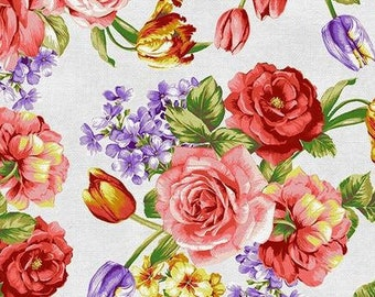 Spring Bouquet - Mixed Bouquet by Ro Gregg for Paintbrush Studio - 120 21562 White - Priced by the 1/2 yard