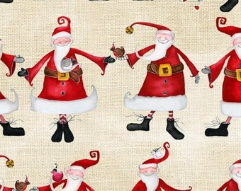 Santa Fabric, Christmas Elf, Santa Claus - Around Town Christmas by DT- K Signature, Studio E - 3716 44 - Cream & Red - Per half yard