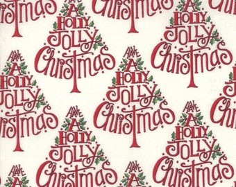 Christmas Fabric - Hearthside Holiday - Brushed Cotton - Christmas Tree 19831 16B Red - Priced by the half yard
