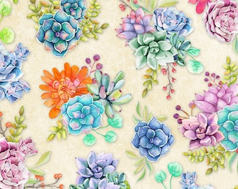 Cactus Fabric - Floral Succulent - Humming Along by Nancy Mink - Wilmington Prints - 33831 248 Cream - priced by the half yard