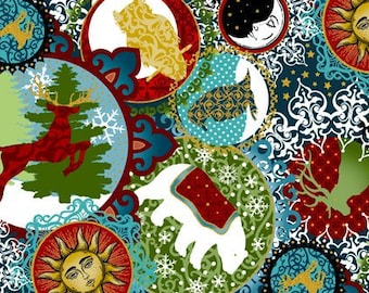 Animal Fabric - Christmas Ornament - Small Collage - Celestial Winter - In The Beginning - 2ACW 1M Black & Metallic - Priced by the 1/2 yard