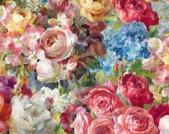 Flower Market Fabric - Packed Flowers - Peony -  Danhui Nai for Wilmington Fabrics - 89209 317 - Priced by the half yard
