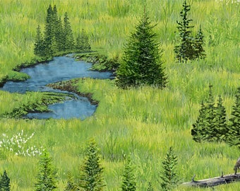 Water Fabric, Lake Fabric, Scenic Pond Fabric - Oh Deer by Kevin Daniel for Wilmington Fabric - 30162 744 - Priced by the half yard