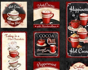 Time for Hot Cocoa Fabric by Conrad Knutsen for Wilmington - Cocoa Panel - 30521 932 - Priced by the 24-Inch Panel