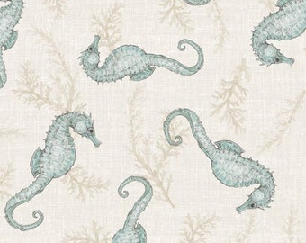 Coastal Wishes - Tossed Seahorse  Nautical - By Susan Winget for Wilmington Prints - 39622 242 Cream - Priced by the half yard