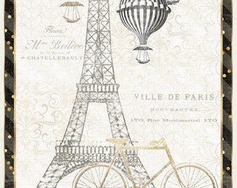 Paris Fabric, Tres Graphique , Eiffel Tower, Hot Air Balloons, Bicycle - Wilmington - 82523 159 - Priced by the 24-Inch Panel