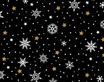 Star Snowflake - Celestial Winter - In The Beginning - 6ACW 1M Black with Metallic - Priced by the 1/2 yard