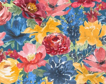 Garden Charm - Packed Floral - Watercolor Flowers - Beth Grove for Wilmington Prints - 83304 445 - Priced by the half yard