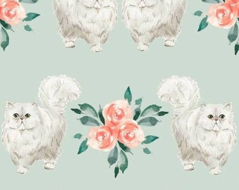 Everyday is Caturday - 3wishes Fabric - White Persian Cats - 18039 Mint - Priced by the half yard