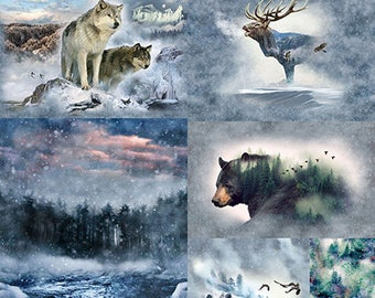Wildlife Collage - Call of the Wild Breeze - Mountain Scene -  Hoffman - Q4448H-49  - Priced by the 90-Inch Panel - Quilt Kit Option