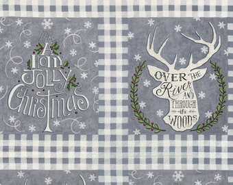 Christmas Fabric - Hearthside Holiday - Brushed Cotton - Deer / Tree Panel 19830 11B Gray - Priced by the 24-inch panel
