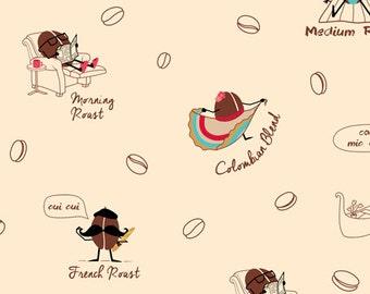 Coffee Fabric, Coffee Bean Fabric - Caf-Fiend by Ink & Arrow 24802 Cream - Priced by 1/2 yard