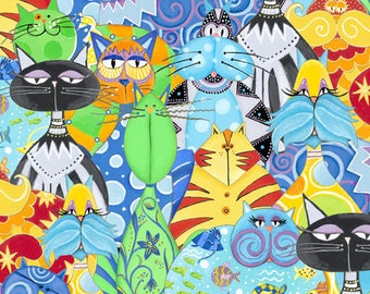 Cat Fabric - Catmosphere by Stephanie Marrot for Wilmington Fabrics - 84438 549 - Priced by the half yard