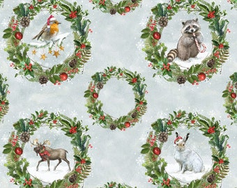 Christmas Animal - Forest Animal - Animal Wreaths - Friendly Gathering Michael Davis - Wilmington - 96420 979 - Priced by the 24-inch repeat