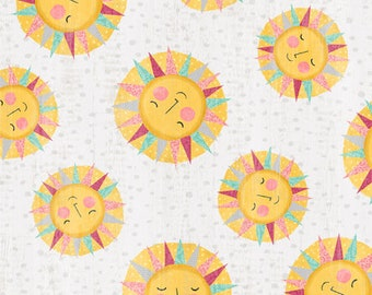 Keep Shining Bright - Sun Toss - Smiling Sun - By Anne Rowan for Wilmington Prints - 68513 953 Lt Gray - Priced by the Half Yard
