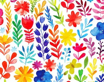 Spring Floral Fabric - Floral Menagerie - In The Beginning Jason Yenter 1FMB1 - Priced by the 1/2 yard
