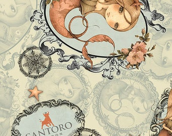 Santoro Adrift, Mirabelle Mermaid -  26440 - H Sage - Priced by the Half Yard