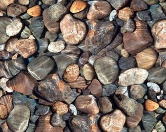 QT Fabrics Open Air Landscape Fabric - Rocks 28110 X - Multi Brown - Priced by the half yard