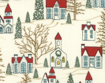 Christmas Fabric - Snow Village  - Nutcracker - Winter Village -  Moda 30551 11 White - Priced by the half yard