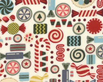 Christmas Fabric - Christmas Candy - Hard Candy - Nutcracker - Winter Village -  Moda 30553 11 White - Priced by the half yard