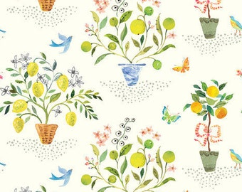 Orange Tree Fabric - Limonella Orangeries - Brenda Walton - Blend Fabrics 123 105 02 2 Ivory - Priced by the 1/2 yard