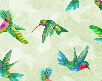 Hummingbird Fabric - Humming bird in flight - Humming Along by Nancy Mink - Wilmington Prints - 33833 473 Green - priced by the half yard