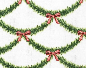 Christmas Fabric - Garland Fabric, Festive Garland, All the Trimmings Collection - Michael Miller  CX 6341 Spruce -  Priced by the Half Yard