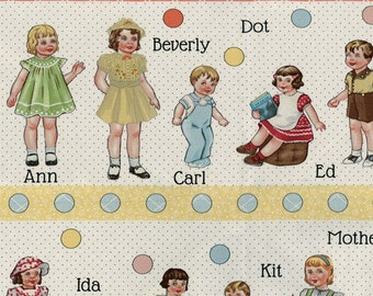 Retro Paper Doll Fabric, 1930s - A to Z Doll Family and Friends by American Jane for Moda Fabrics - 21700 11 Cream - 23-inch panel