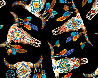 Southwest Fabric - Longhorns - Cattle Skull - Timeless Treasures - C6176 Black - Priced by the half yard