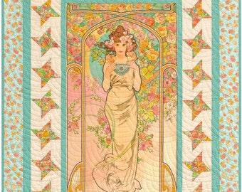 Garden Goddess Designed by Elise Lea - The Flowers: Varient 2 Alphonse Mucha 1898 - Kaufman Fabrics - DIY Quilt Kit - Top & Binding