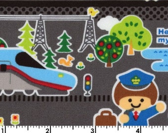 Kokka Fabric, Push Pin Fabric -  Hello My Friend Trains HG 2305 Gray - Priced by the 1/2 yard
