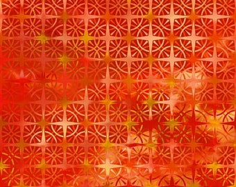 Compass Fabric - Calypso - In The Beginning Jason Yenter - 8CAL 4 Orange Fire Ombre - Priced by the 1/2 yard