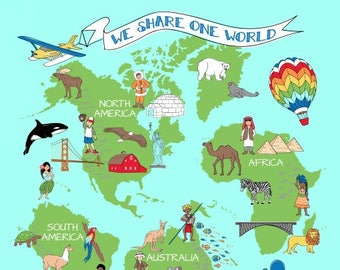 "One World Fabric, Continents of the World, World Kids - We Share One World by Whistler Studio for Windham 42714 - SuperSize Panel 47""x70"""