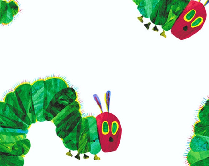 Featured listing image: Caterpillar Walk Fabric - Very Hungry Caterpillar by Eric Carle for Andover Fabrics 5281 M - Priced by the half yard